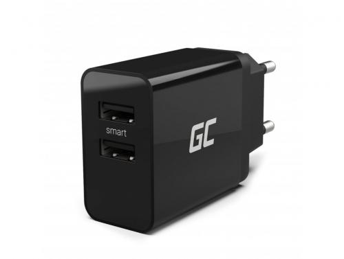 Univerzálna nabíjačka Green Cell Cell® s funkciou rýchleho nabíjania a 2 portami USB