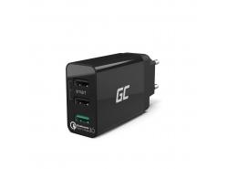 Univerzálna nabíjačka Green Cell Cell® s funkciou rýchleho nabíjania 3 USB porty, QC 3.0