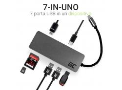 Dokovacia stanica, adaptér, adaptér HUB USB-C HDMI Green Cell - 7 portov pre MacBook Pro, Dell XPS, Lenovo X1 Carbon a ďalšie