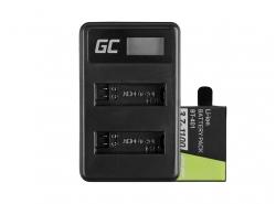 Batéria Green Cell Cell® AHDBT-401 a nabíjačka AHBBP-401 pre GoPro Hero 4 čierna strieborná 1100 mAh