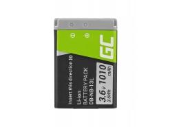 Green Cell Cell® Akku NB-13L pre Canon PowerShot G5 X, G7 X, G7 X Mark II, G9 X, SX620 HS, SX720 HS, SX730 HS 3,6 V 1010 mAh