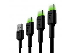 Sada 3x kábel Green Cell GC Ray USB-C 30 cm, 120 cm, 200 cm so zeleným podsvietením LED, rýchle nabíjanie UC, QC 3.0