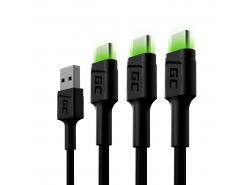 Sada 3x kábel Green Cell GC Ray USB-C kábel 200 cm so zeleným podsvietením LED, rýchle nabíjanie Ultra Charge, QC 3.0