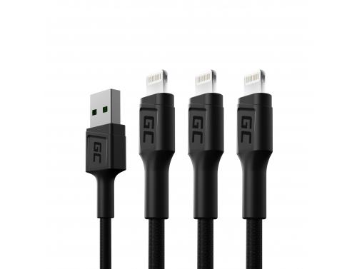 Set 3x Green Cell GC Ray USB kábel - Lightning 120cm pre iPhone, iPad, iPod, biela LED, rýchle nabíjanie
