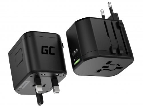 Green Cell GC TripCharge PRO Univerzálny adaptér s USB-A UC a USB-C PD 18W portmi