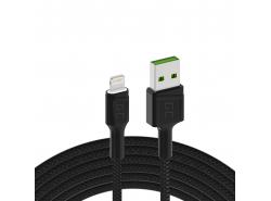 Kábel Green Cell Ray USB-A - Blesková biela LED 120cm s podporou rýchleho nabíjania Apple 2.4A