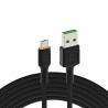 USB kábel Green Cell GC Ray - Micro USB 120 cm, oranžová LED, rýchle nabíjanie Ultra Charge, QC3.0