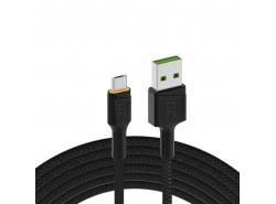 Kábel Green Cell Ray USB-A - microUSB oranžová LED 200cm s podporou rýchleho nabíjania Ultra Charge QC3.0