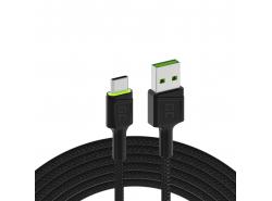Kábel Green Cell Ray USB-A - Zelená LED 200 cm s podporou rýchleho nabíjania QC3.0 Ultra Charge